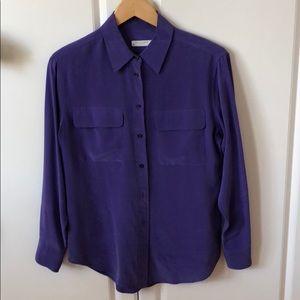 Equipment 100% purple silk blouse. Button up.